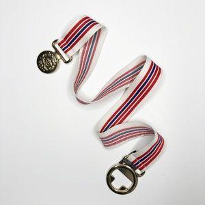 The Limited Stripe Elastic Gold Emblem Clip Belt